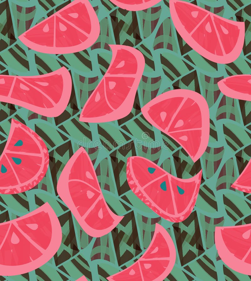 Abstract pink orange slices with texture on green vector illustration