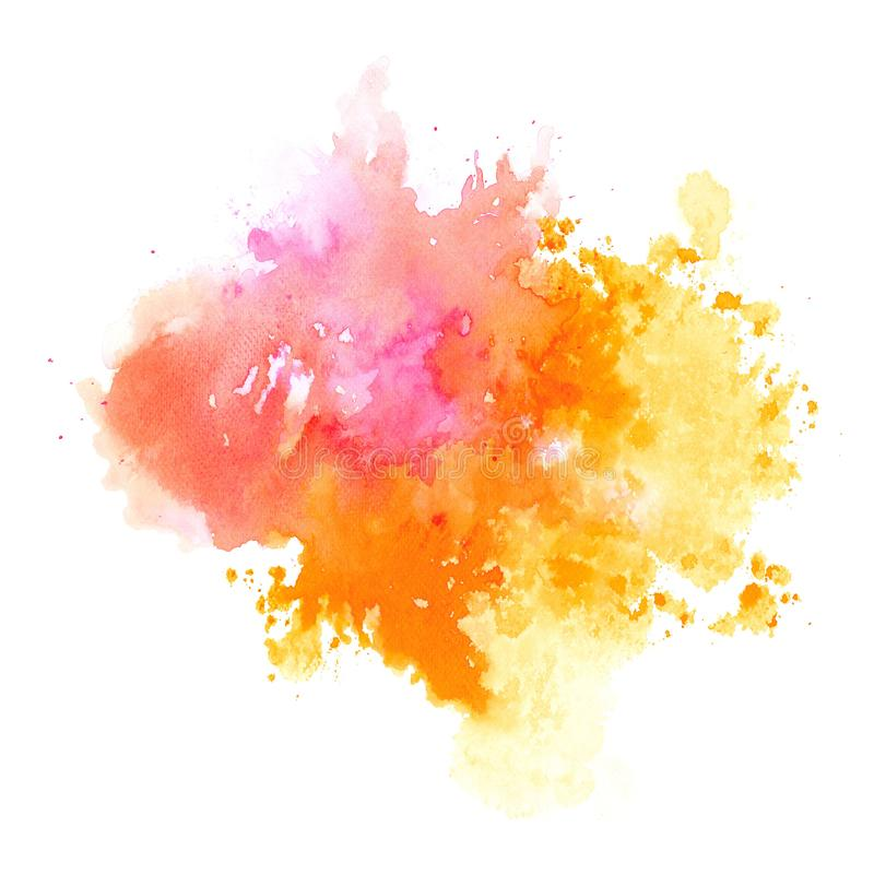 Abstract pink and orange watercolor splash on white background paper, illustration vector illustration