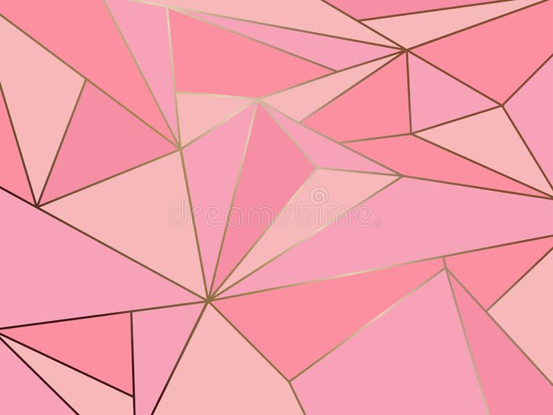 Abstract pink polygon artistic geometric with gold line stock illustration