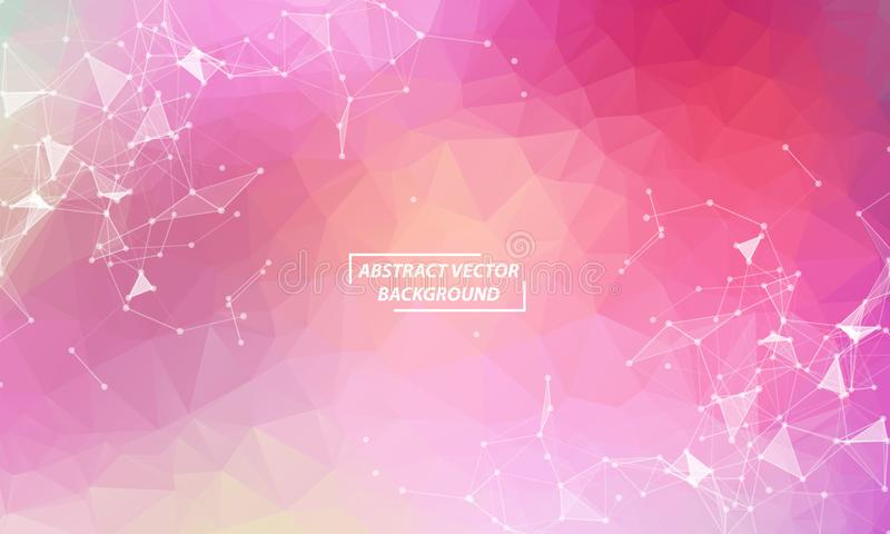 Abstract Pink  Polygonal Space Background with Connecting Dots and Lines.  Connection structure and science background. Futuristic vector illustration