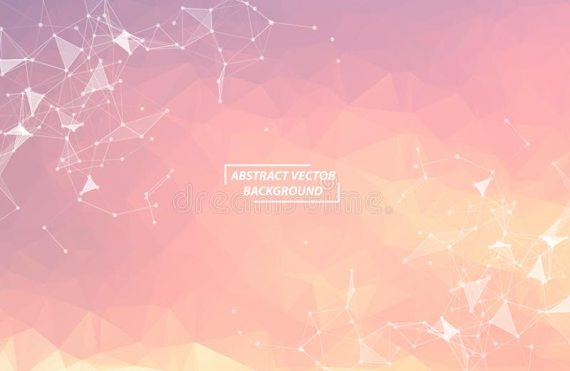 Abstract Pink Polygonal Space Background with Connecting Dots and Lines. Geometric Polygonal background molecule and communication stock illustration