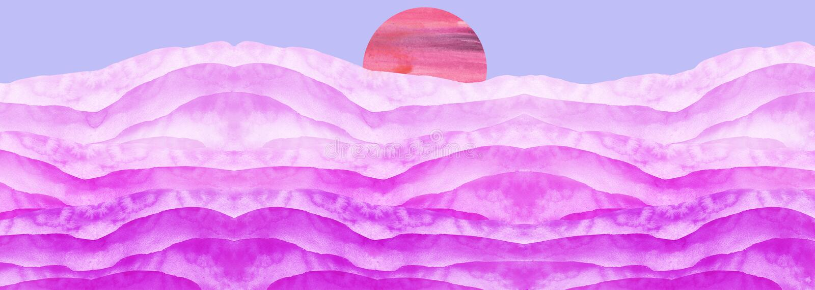 Abstract pink, purple, lilac watercolor.The color splashing on the paper.Watercolor splash stain pink. Abstract blot,desert. Watercolor field. Abstract stock illustration