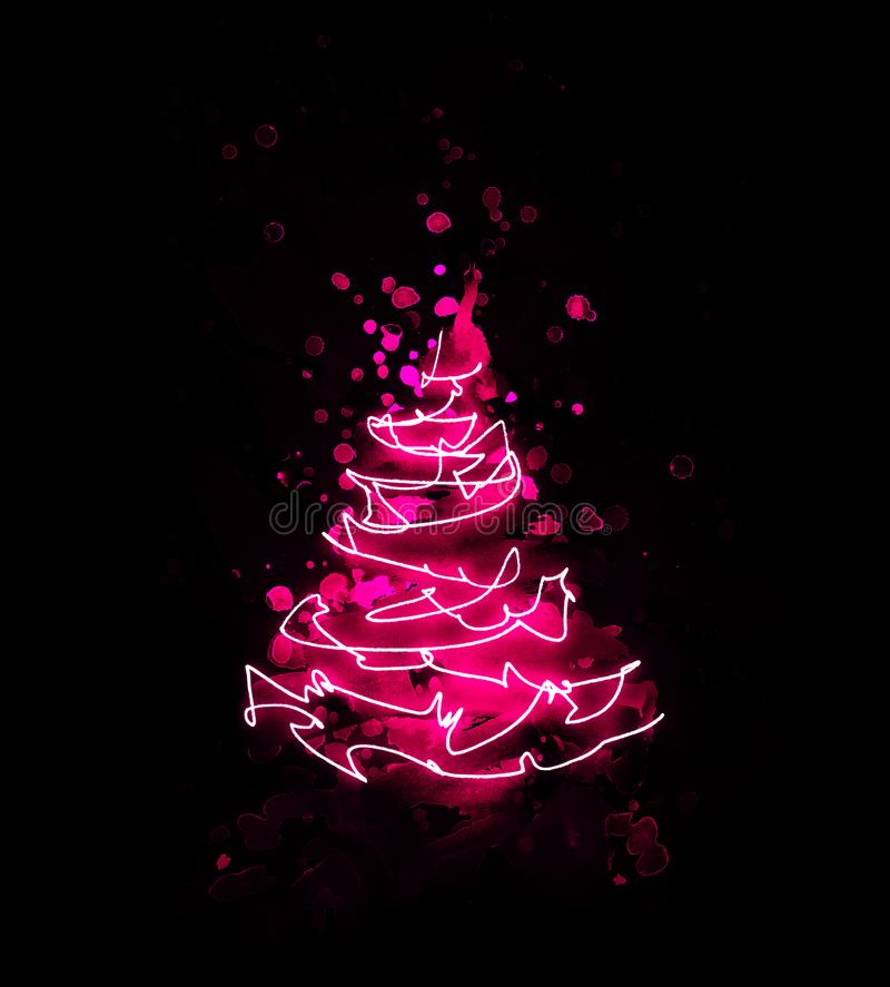 Abstract pink red christmas tree made from watercolor brush stroke and drawing of a string of lights as a luminous line on black. Background for use as a card stock illustration