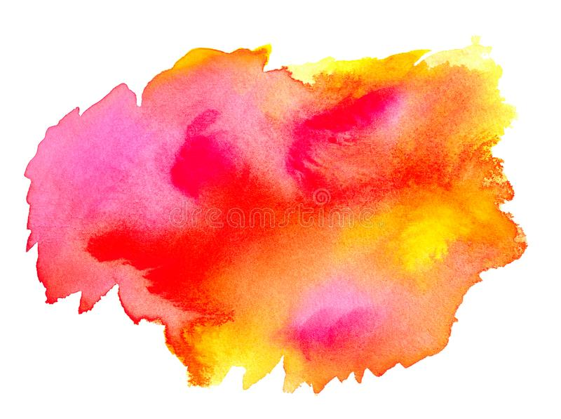 Abstract pink red yellow watercolor on white background.The color splashing on the paper.It is a hand drawn vector illustration