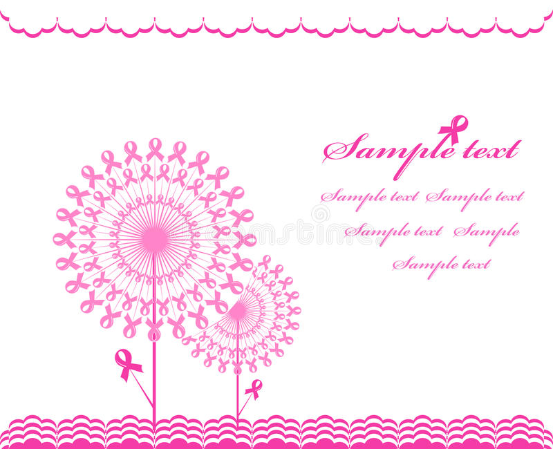 Abstract pink Support Ribbon background stock illustration