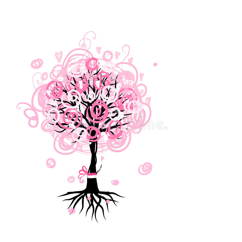 Abstract pink tree with roots for your design vector illustration