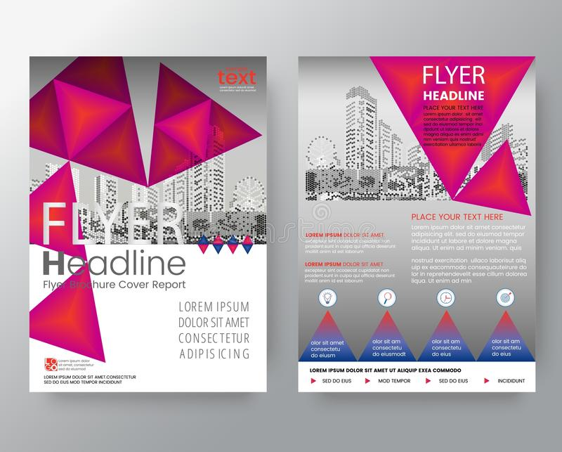 Abstract pink triangle Brochure annual report cover Flyer Poster. Design Layout vector template in A4 size royalty free illustration