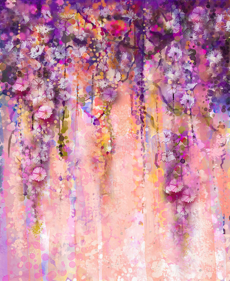 Abstract pink and violet color flowers, Watercolor painting. Han vector illustration