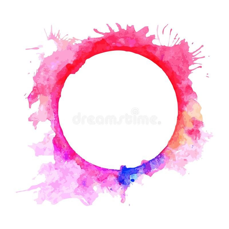 Abstract Pink And Violet Tone Circle Frame Paint By Watercolor And ...