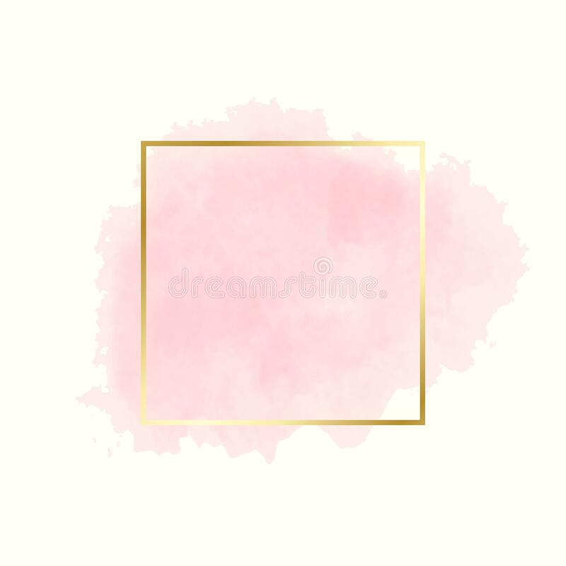Free Abstract Pink Water Color Brush With Rectangle Geometric Frame Gold Color, Beauty And Fashion Background Concept Royalty Free Stock Image - 183806306