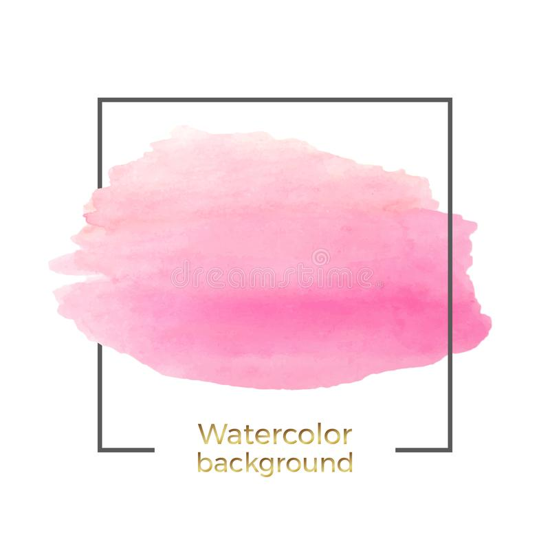 Abstract pink watercolor on the white background, splash with square frame, Abstract of fluid ink, acrylic dry brush strokes, stai vector illustration