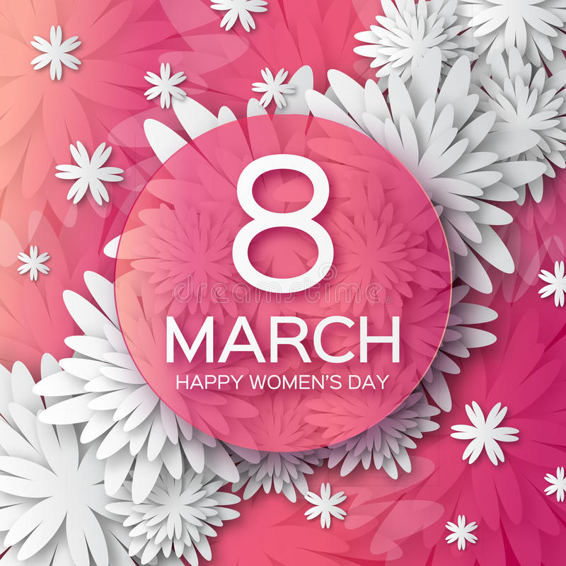 Abstract Pink White Floral Greeting card - International Happy Women's Day - 8 March holiday background vector illustration