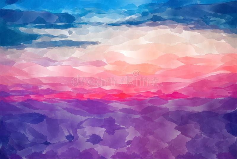 Abstract pink yellow blue purple orange water color background stock illustration