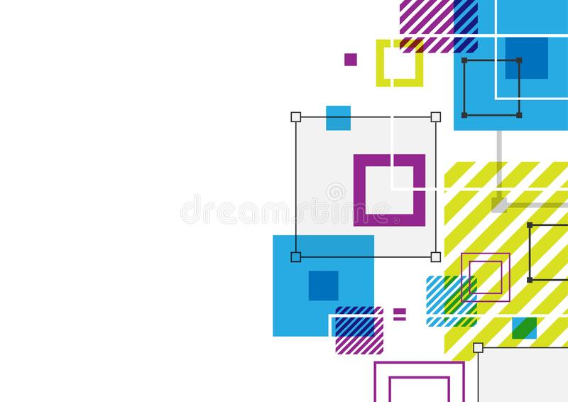 Abstract geometric background design, square shape connection layout royalty free stock photo
