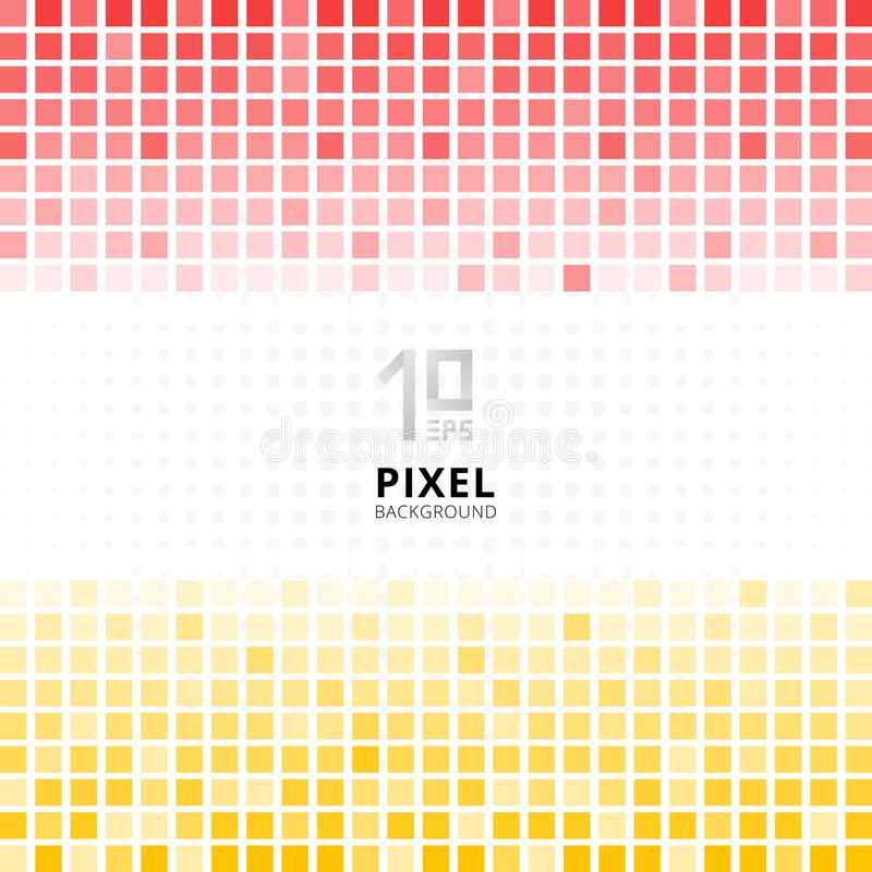 Abstract pixel mosaic red and yellow gradient color on white background. vector illustration