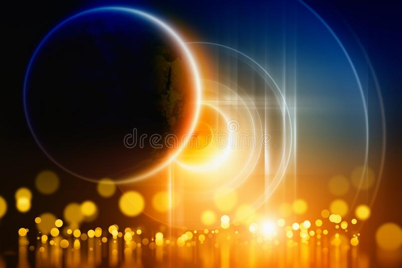 Abstract planet. Abstract background - bright lights with reflection, planet in dark space. Elements of this image furnished by NASA royalty free illustration
