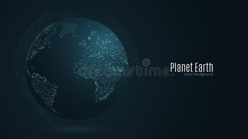 Abstract planet earth. Blue map of the earth from the square points. Dark background. Blue glow. High tech. Global network connect. Ion, international meaning vector illustration
