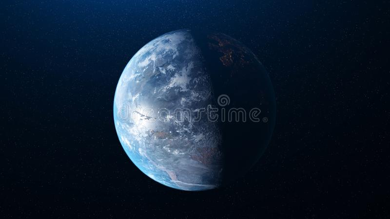 Abstract planet Earth on dark space with many stars on the background. Animation. Realistic world globe spinning slowly stock images