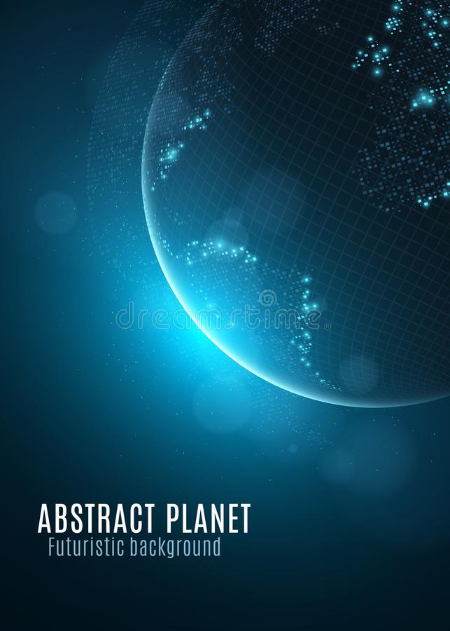 Abstract planet earth. Glowing map of small square dots. Futuristic background. Space composition. Blue sunrise. High tech. World royalty free illustration