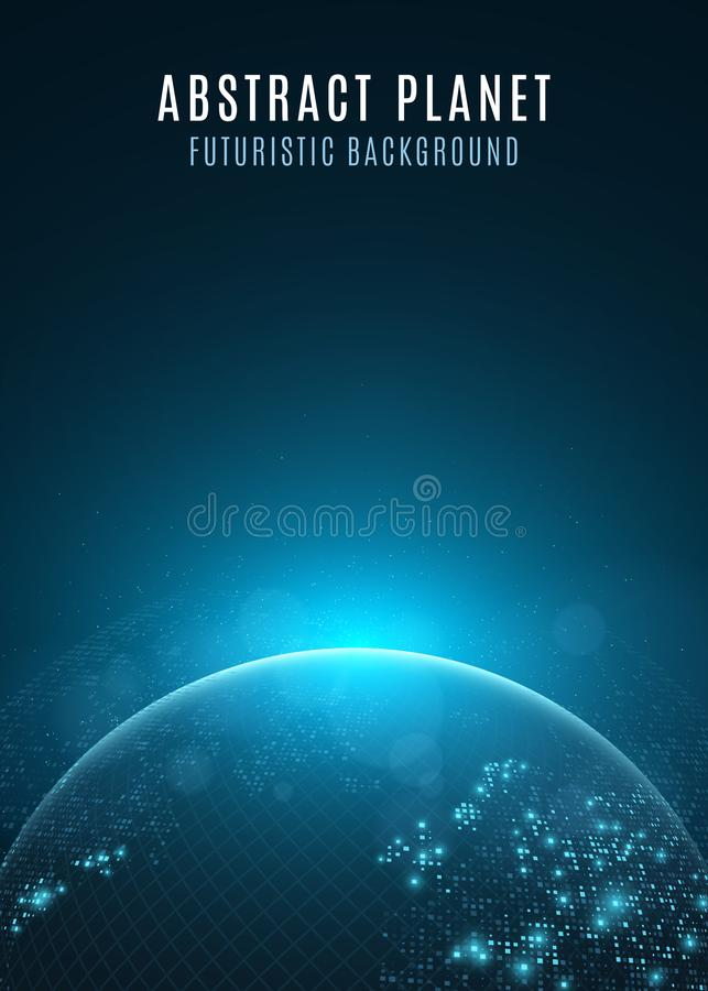 Abstract planet earth. Glowing map of square dots. Futuristic dark background. Space composition. Blue sunrise. High tech. World m. Ap. Global network connection stock illustration