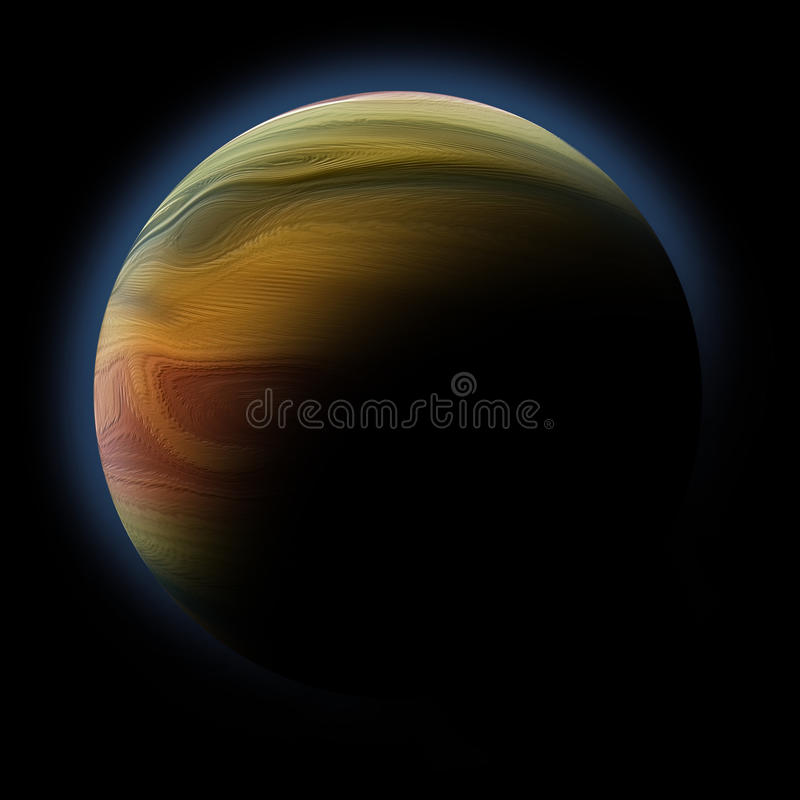 Abstract Planet With Sun Flare In Deep Space Royalty Free Stock Photography