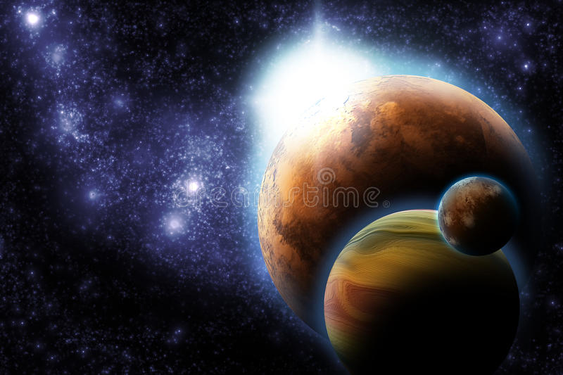 Abstract Planet With Sun Flare In Deep Space Stock Photos