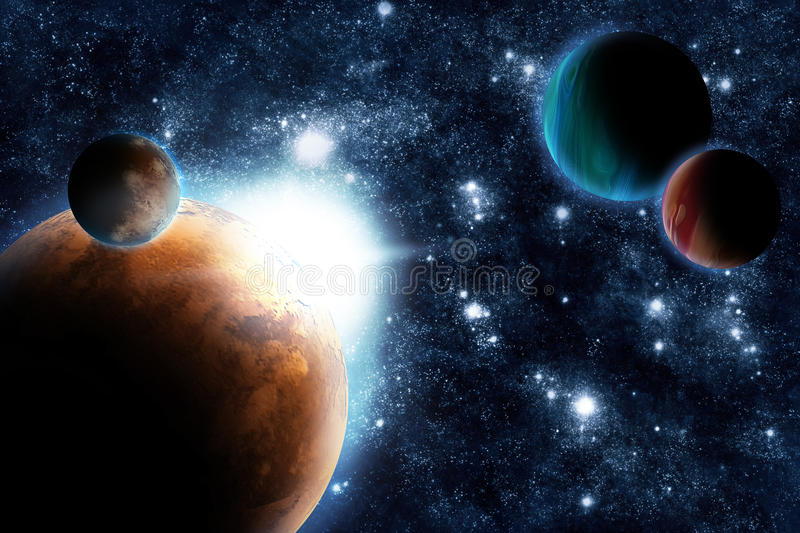 Abstract Planet With Sun Flare In Deep Space Stock Images