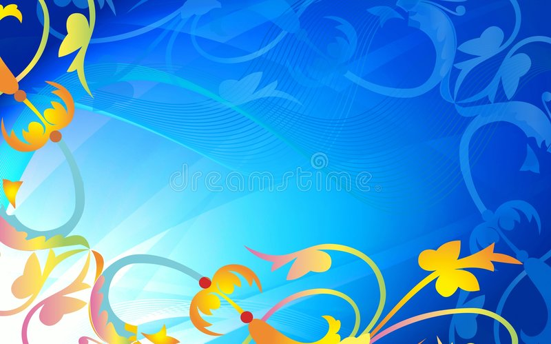 Abstract plant design on blue stock photo