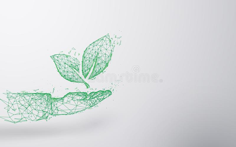 Abstract Plant on hand form lines and triangles, point connecting network background. Ecology concept. Illustration vector vector illustration