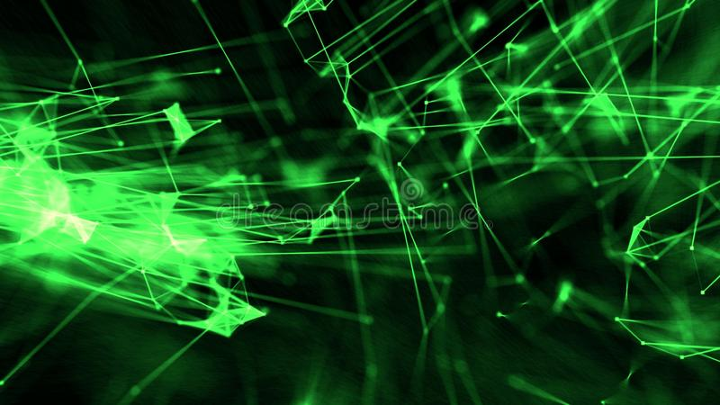 Abstract plexus atom connections through thread with particles green stock illustration