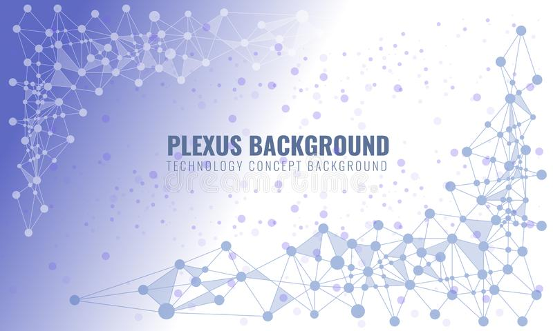 Abstract plexus background with connected lines and dots. Wave flow for your visit card or flyer background. Vector royalty free illustration