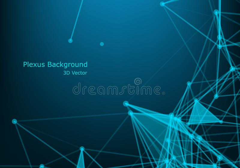 Abstract Plexus Blue Geometrical Shapes. Connection And Web Concept. Digital, Communication And Technology Network Background With stock illustration