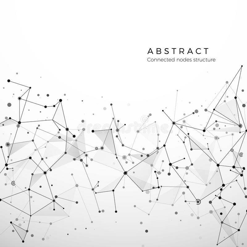 Abstract plexus structure of digital data, web and node. Particles and dots connection. Atom and molecule concept stock illustration