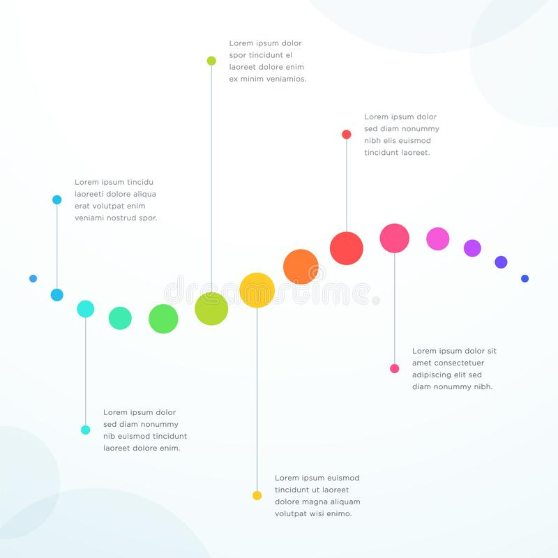 Abstract 6 Point Colorful Flat Horizontal Timeline vector illustration
