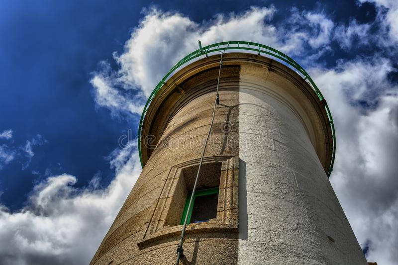 Abstract point view about a lighthouse in St Brieuc, Brittany, F stock photo
