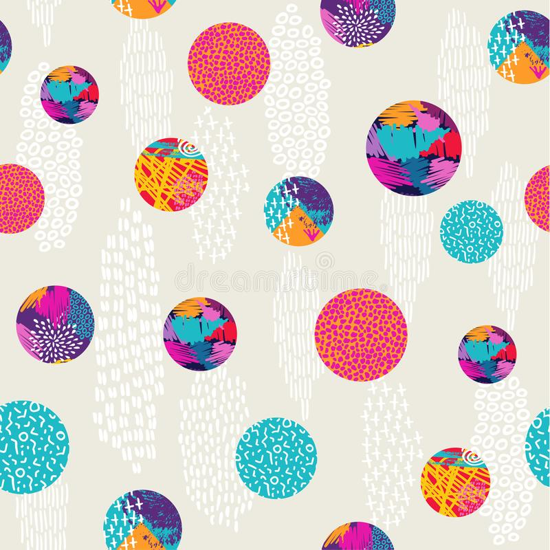 Abstract polka dot colorful pattern background art stock illustration