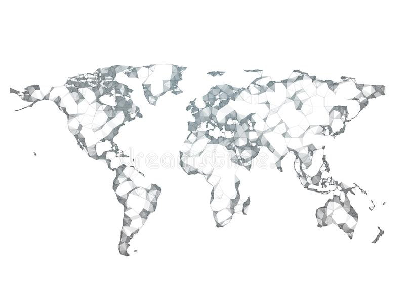 Abstract polygon 3d render world map stock image