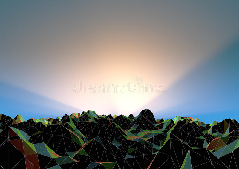 Download Abstract polygon landscape stock illustration. Image of light - 21082501