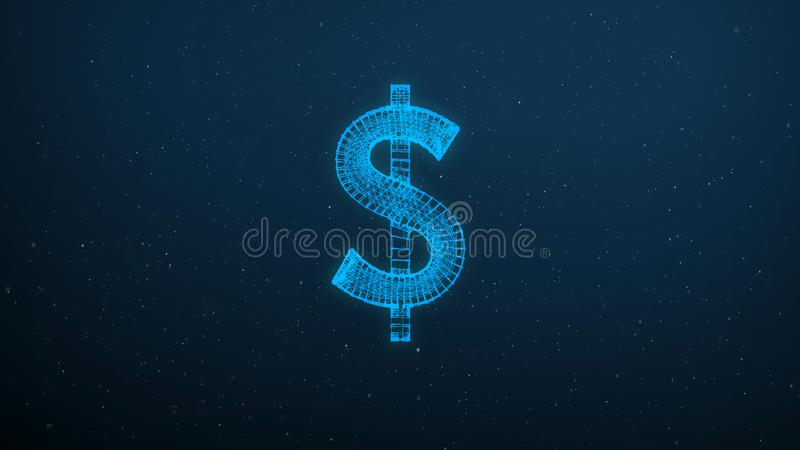Abstract polygonal American dollar icon wireframe mesh on blue background royalty free stock images