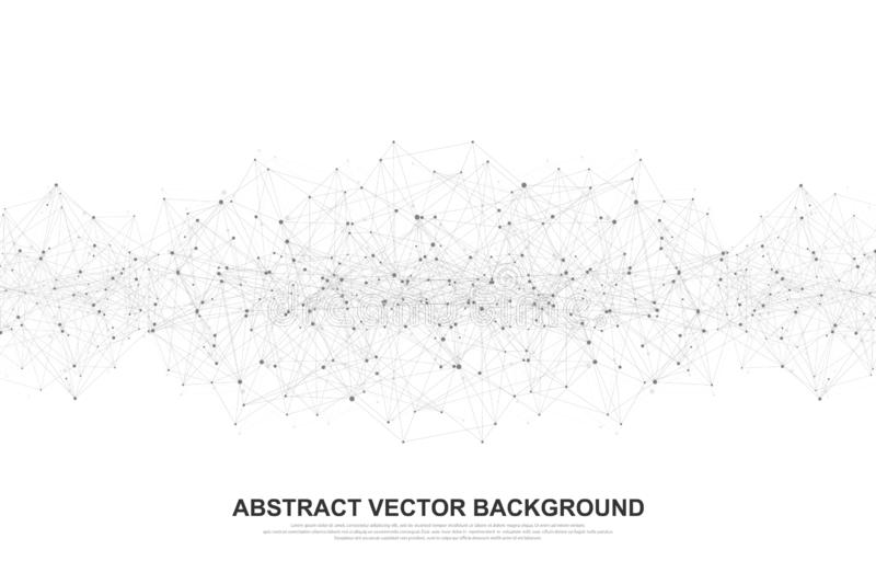 Abstract polygonal background with connected lines and dots. Minimal geometric pattern, molecular texture. Graphic stock illustration