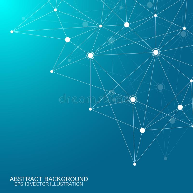 Abstract polygonal background with connected lines and dots. Minimalistic geometric pattern. Molecule structure and stock illustration