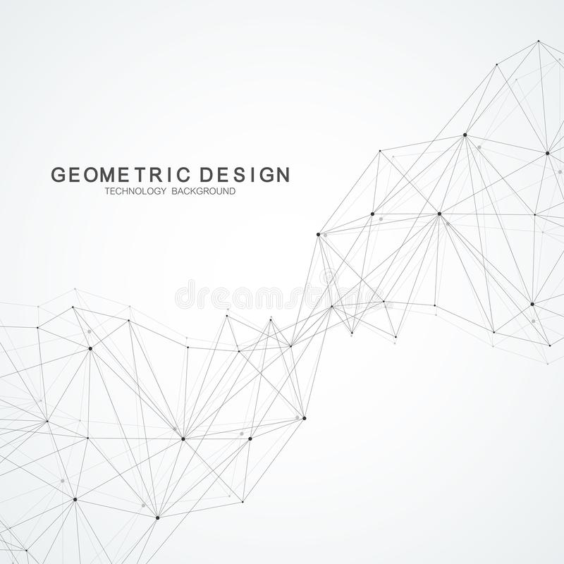 Abstract polygonal background with connected lines and dots. Minimalistic geometric pattern. Molecule structure and vector illustration