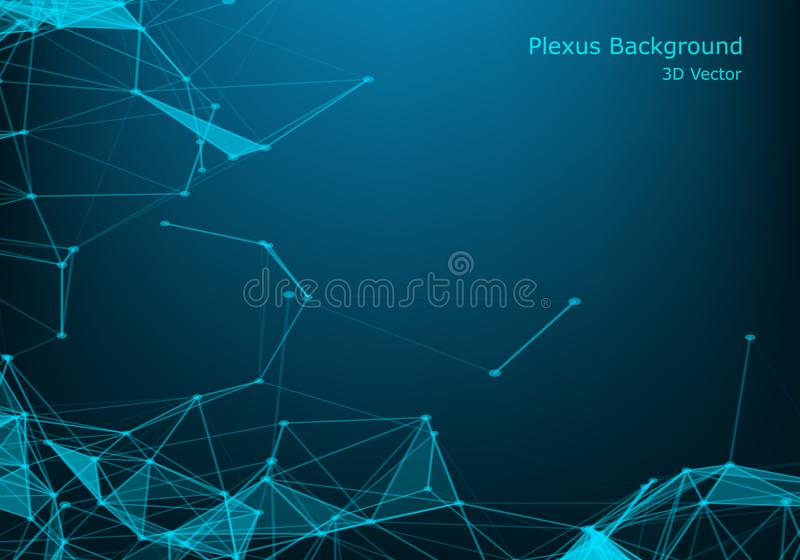 Abstract polygonal background with connected lines and dots. Minimalistic geometric pattern. Molecule structure and communication stock illustration