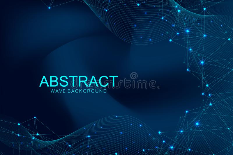 Abstract polygonal background with connected lines and dots. Wave flow. Molecule structure and communication. Graphic stock illustration