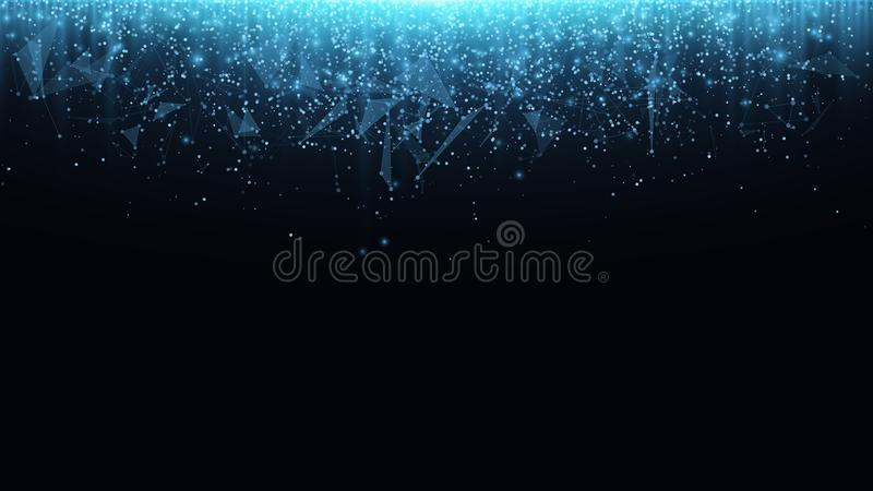Abstract polygonal background from connected triangles and dots. Glowing particles and blue rays of light. Luminous particles of b royalty free illustration