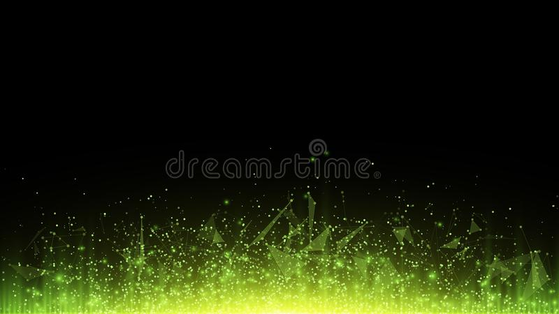 Abstract polygonal background from connected triangles and dots. Glowing particles and green rays of light. Luminous particles of vector illustration