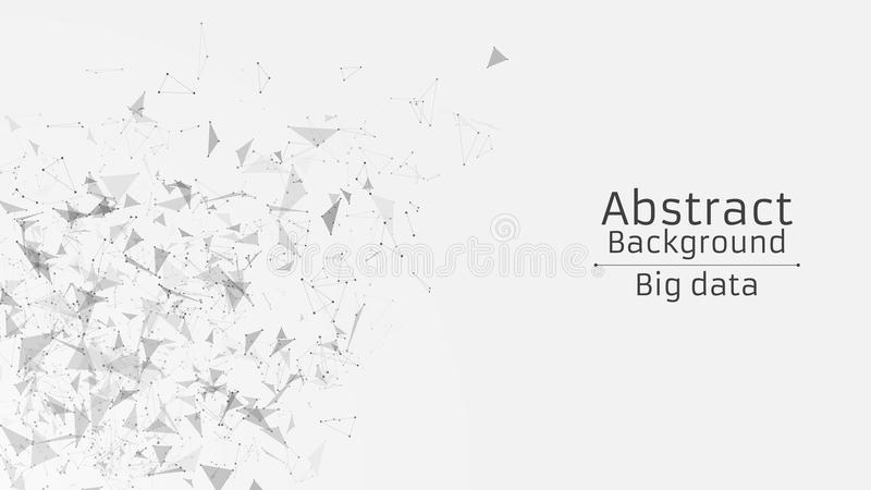 Abstract polygonal background from connected triangles and dots. Modern technologies in design. Black on white. Side view royalty free illustration