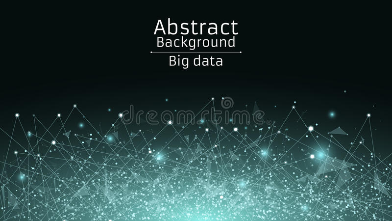 Abstract polygonal background from connected triangles and dots. Modern technologies in design. Luminous particles of blue in the royalty free illustration