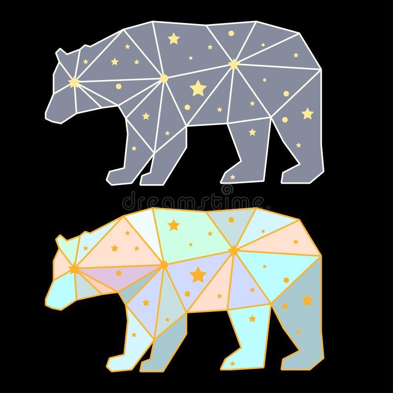 Abstract polygonal bear on black royalty free illustration