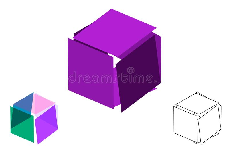 Abstract polygonal broken cube. Isolated on white background. Vector illustration. Abstract polygonal broken cube. Isolated on white background. 3d Vector vector illustration